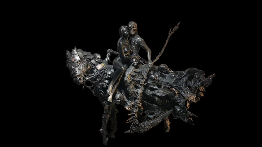 死神与少女雕塑